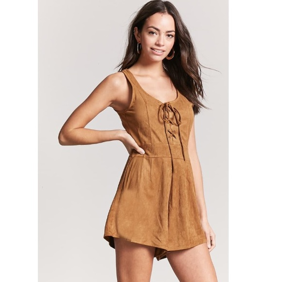 8772cd6bbc3a Faux Suede Lace-Up Romper Forever 21 Camel Tan New